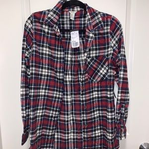 Red, Blue, White Plaid Flannel Never Worn
